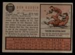 1962 Topps #332  Don Buddin  Back Thumbnail