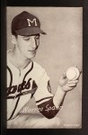 1962 Exhibit Stat Back #32   Warren Spahn Front Thumbnail