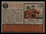 1962 Topps #257  Jack Spring  Back Thumbnail