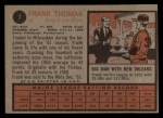 1962 Topps #7   Frank Thomas Back Thumbnail