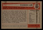 1954 Bowman #187  Vern Law  Back Thumbnail