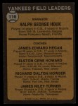 1973 Topps #116 ORG  -  Ralph Houk / Jim Hegan /  Elston Howard / Dick Howser / Jim Turner Yankees Leaders Back Thumbnail