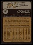 1973 Topps #230  Joe Morgan  Back Thumbnail