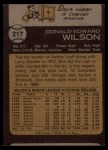 1973 Topps #217   Don Wilson Back Thumbnail