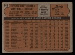 1972 Topps #743  Cesar Gutierrez  Back Thumbnail