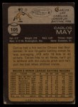 1973 Topps #105  Carlos May  Back Thumbnail