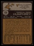 1973 Topps #106   Terry Humphrey Back Thumbnail