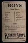 1917 Boston Store #144  Dick Rudolph  Back Thumbnail