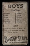1917 Boston Store #20   Geo. J. Burns Back Thumbnail