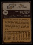1973 Topps #186  Bill Fahey  Back Thumbnail
