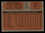 1972 Topps #384   Dave Campbell Back Thumbnail