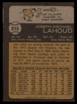 1973 Topps #212   Joe Lahoud Back Thumbnail