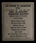 1951 Berk Ross #13 D  Margaret DuPont Back Thumbnail