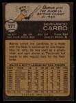 1973 Topps #171   Bernie Carbo Back Thumbnail