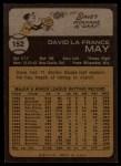 1973 Topps #152  Dave May  Back Thumbnail
