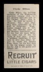 1912 T207 #123   Clyde Milan   Back Thumbnail