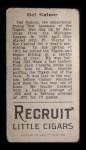 1912 T207 #64   Del Gainor   Back Thumbnail