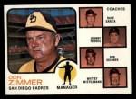 1973 Topps #12 BRN Padres Field Leaders  -  Don Zimmer / Dave Garcia / Johnny Podres / Bob Skinner / Whitey Wietelemann Front Thumbnail
