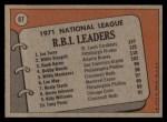 1972 Topps #87  1971 NL RBI Leaders    -  Hank Aaron / Willie Stargell / Joe Torre Back Thumbnail