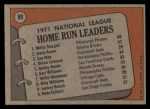 1972 Topps #89  NL HR Leaders    -  Hank Aaron / Lee May / WIllie Stargell Back Thumbnail