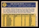 1970 Topps #442   Gene Mauch Back Thumbnail