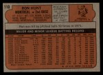 1972 Topps #110   Ron Hunt Back Thumbnail