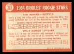 1964 Topps #201   Orioles Rookie Stars  -  Wally Bunker / Sam Bowens Back Thumbnail