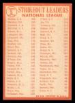 1964 Topps #5  1963 NL Strikeout Leaders  -  Sandy Koufax / Jim Maloney / Don Drysdale Back Thumbnail