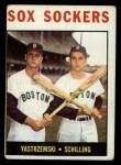 1964 Topps #182  Sox Sockers  -  Carl Yastrzemski / Chuck Schilling Front Thumbnail