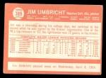 1964 Topps #389   Jim Umbricht Back Thumbnail