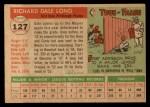 1955 Topps #127  Dale Long  Back Thumbnail