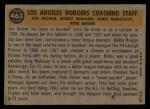 1960 Topps #463  Dodgers Coaches  -  Bobby Bragan / Pete Reiser / Joe Becker / Greg Mulleavy Back Thumbnail