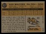 1960 Topps #511  Ken Walters  Back Thumbnail