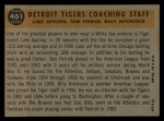1960 Topps #461  Tigers Coaches  -  Tom Ferrick / Luke Appling / Billy Hitchcock Back Thumbnail