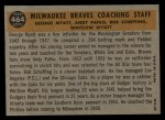 1960 Topps #464  Braves Coaches  -  Bob Scheffing / Whitlow Wyatt / Andy Pafko / George Myatt Back Thumbnail