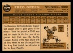 1960 Topps #272   Fred Green Back Thumbnail