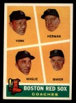 1960 Topps #456  Red Sox Coaches  -  Rudy York / Billy Herman / Sal Maglie / Del Baker Front Thumbnail
