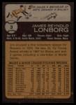 1973 Topps #3   Jim Lonborg Back Thumbnail