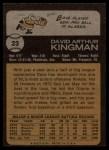 1973 Topps #23  Dave Kingman  Back Thumbnail