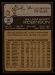 1973 Topps #37   Bill Robinson Back Thumbnail