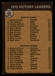 1973 Topps #66  Victory Leaders  -  Steve Carlton / Gaylord Perry / Wilbur Wood Back Thumbnail