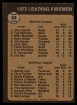 1973 Topps #68  1972 Leading Firemen  -  Clay Carroll / Sparky Lyle Back Thumbnail
