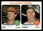 1973 Topps #68  1972 Leading Firemen  -  Clay Carroll / Sparky Lyle Front Thumbnail