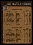 1973 Topps #68  Leading Firemen  -  Clay Carroll / Sparky Lyle Back Thumbnail