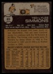 1973 Topps #85   Ted Simmons Back Thumbnail
