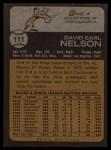 1973 Topps #111   Dave Nelson Back Thumbnail