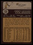 1973 Topps #120  Joe Coleman  Back Thumbnail
