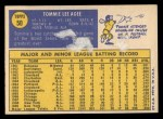 1970 Topps #50   Tommie Agee Back Thumbnail