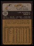 1973 Topps #135   Lee May Back Thumbnail