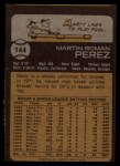 1973 Topps #144   Marty Perez Back Thumbnail